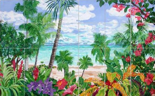 Art on Tile - Springtime in the Tropics  4 x 4